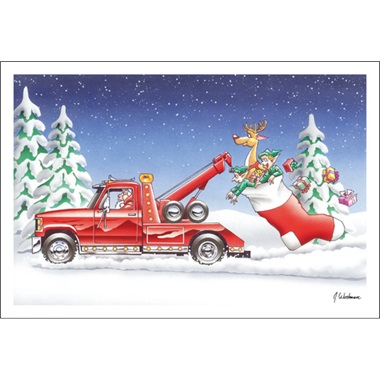 Tow Truck Towing Stocking And Elves