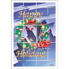 Happy Holiday Wreath Window