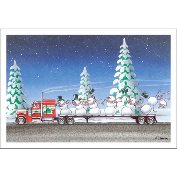 Snowman Blowing Off Big Rig
