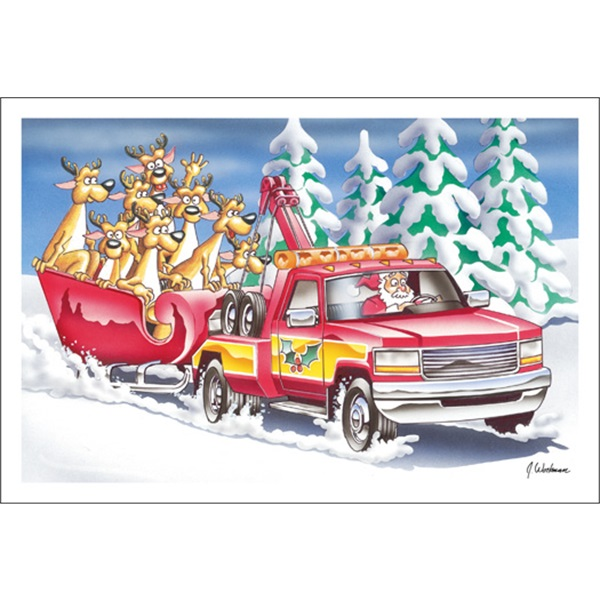 Santa Pulling Sleigh With Tow Truck