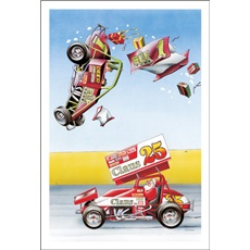 Santa And Elves Banging Out In Sprint Cars