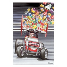 Santa In Sprint Car Presents Flying