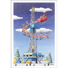 Santa And Sleigh Pass By A Fracking Rig