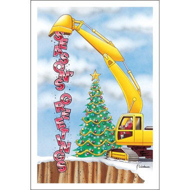 Excavator Dumping Season's Greetings