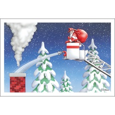Santa Aiming Fire Hose From Ladder Truck