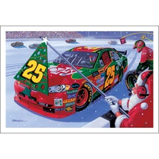 Number 25 Pits While Santa Holds Pit Flag