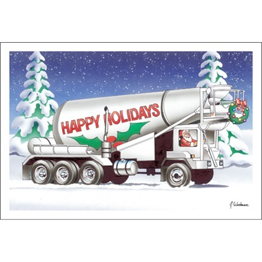 Happy Holidays On Front Pour Cement Truck