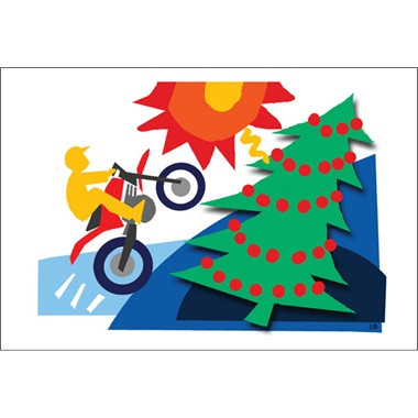 Dirt Bike Jumping Over Christmas Tree
