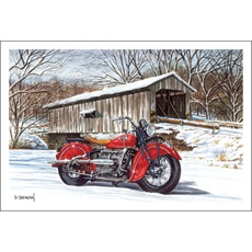 Classic Motorcycle Next To Covered Bridge