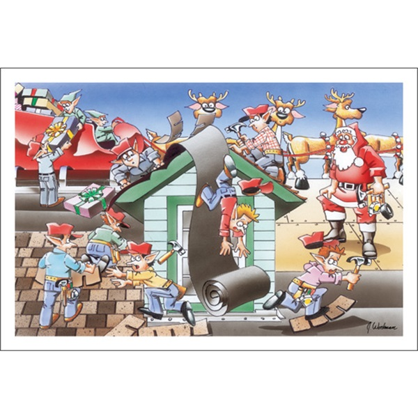 Clumsy Elves On Rooftop