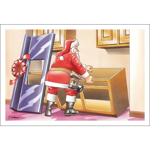 Santa Installs New Sink Cabinet