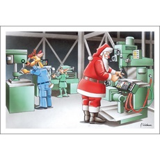 Santa, Deer And Elf Work In Machine Shop