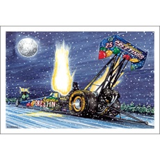 Season's Greetings Top Fuel Dragster Igniting