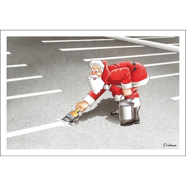 Santa Paints The Parking Lot Stripes