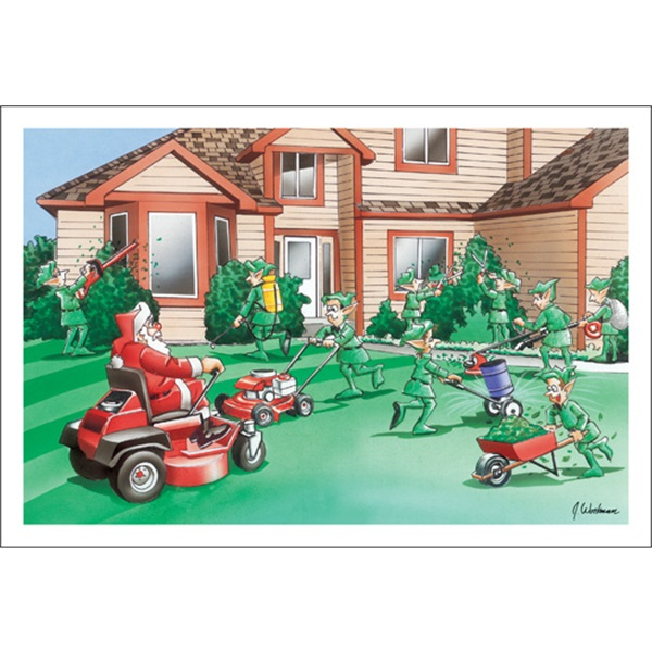 Elves And Santa Doing The Yard Work