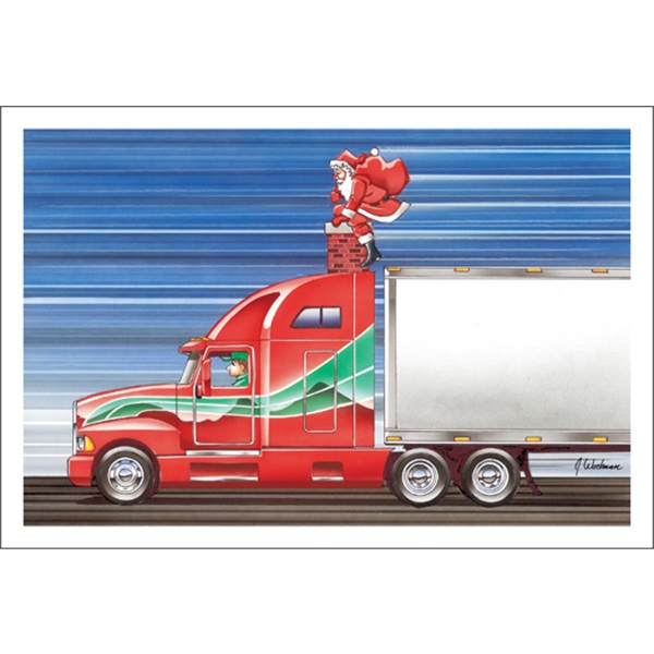Santa Delivering Presents To A Semi