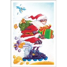 Roallerblading Santa Is Deliverying The Presents