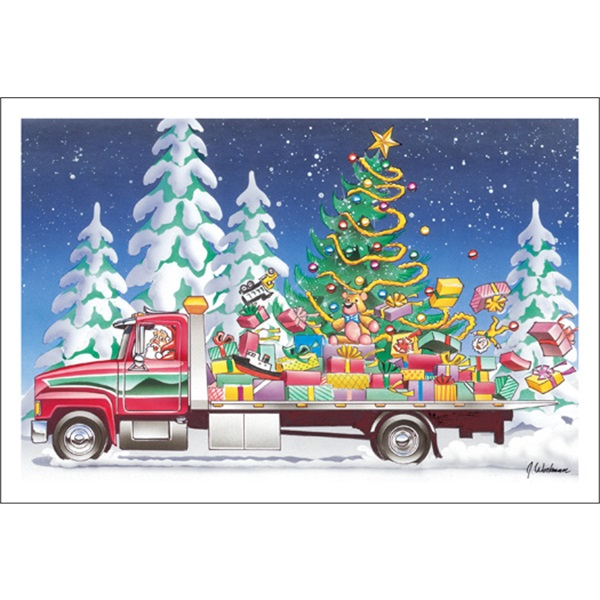 Flat Bed Tow Truck With Christmas Tree And Present