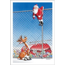 Santa's Stuck On The Chain Link Fence