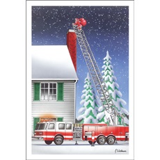 Santa Climbing Up Chimney Using Ladder Fire Truck