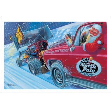 Santa Racing In Motor Speedway North Pole Car Paul Oxman Publishing