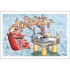 Santa Approaches Oil Platform