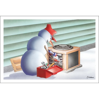 Snowman Fixing Air Conditioning Unit