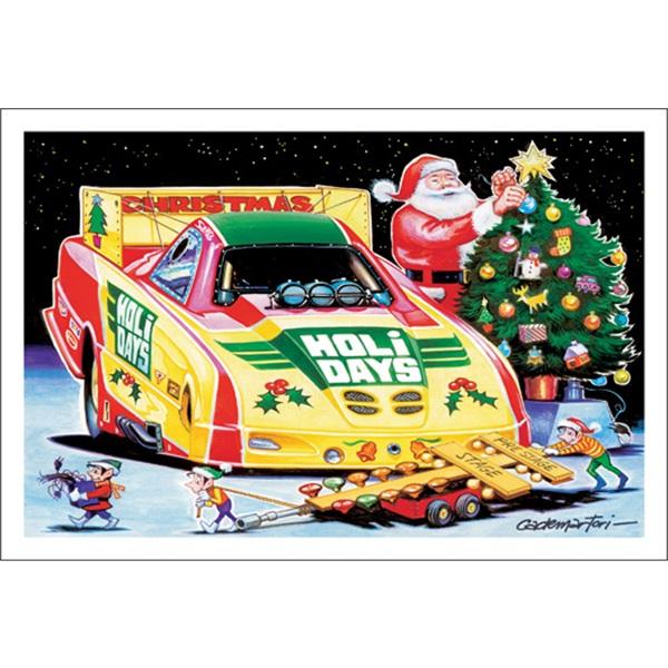 Santa Decorating Christmas Tree By His Funny Car