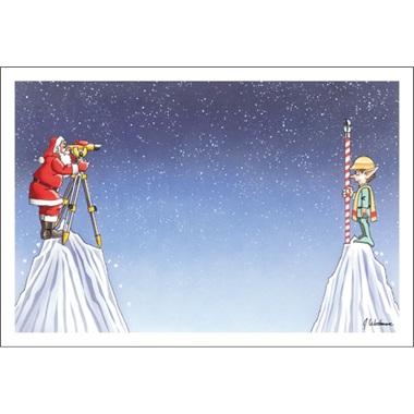 Santa And Elf Surveying The Land