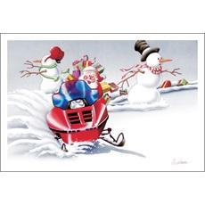 Santa Snowmobiling Between Snowmen