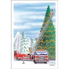 Fireman On Ladder Truck Decorate Christmas Tree