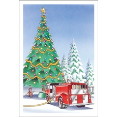 Santa Waters Christmas Tree With Fire Hose