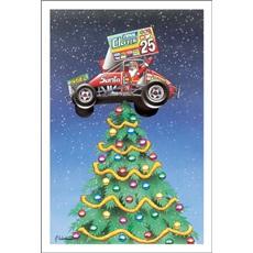 Santa In Sprint Car Tree Topper