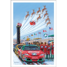 Santa Flies Above Race