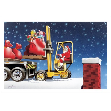 Santa On A Forklift