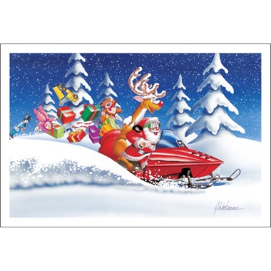 Santa Rides With Deer In Snow Presents Flying