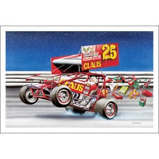Santa Burning Up The Dirt Track In A Sprint Car