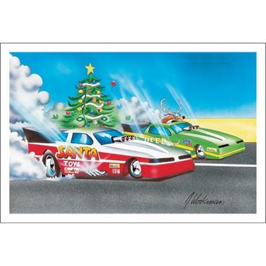 Santa And Deer Funny Car Racing