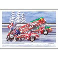 Santa And Mrs. Claus Sprint Car Racing