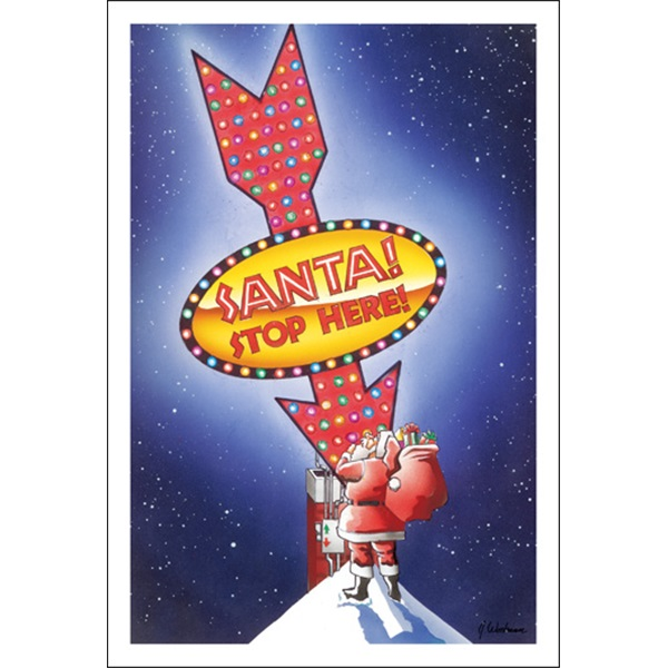 Santa Stop Here Light Up Sign