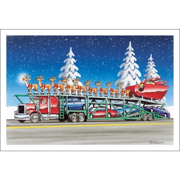 Auto Carrier Carrying Sleigh And Reindeer