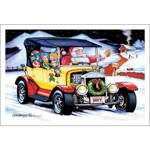 Santa And Crew Cruising In Yellow Street Rod