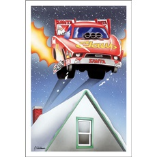 Funny Car Claus Coming Off Roof