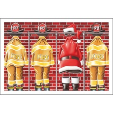 Fire Gear And Santa On Rack