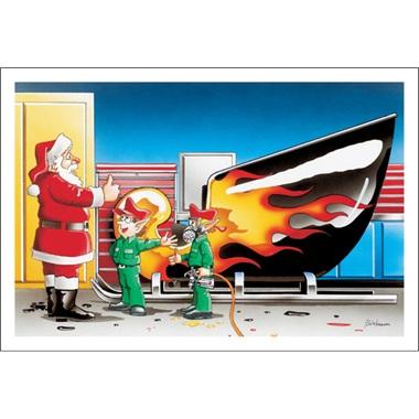 Santa's Sleigh Rocks Flames