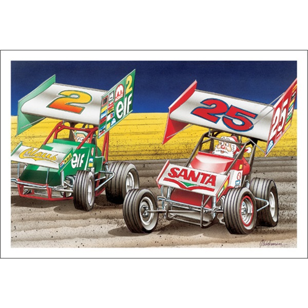 Santa And Elf Kicking Up Dirt On Sprint Car Track
