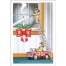 Elf Fireman Extinguishes Candle From Toy Ladder