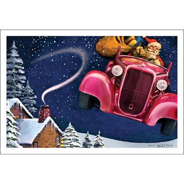 Santa Flying Away In His Street Rod Coupe