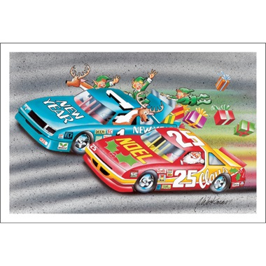 Santa And Reindeer Doing A Little Stock Car Side B