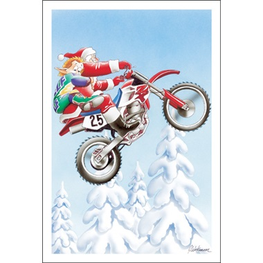 Santa And Elf Catch Air On Dirt Bike